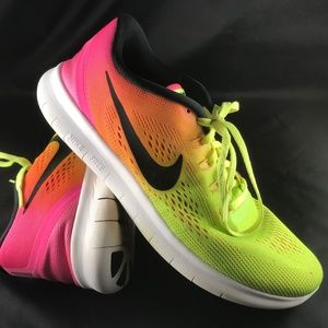NIKE FREE RN Ombre Volt Pink Womens 10.5 42.5 EUR